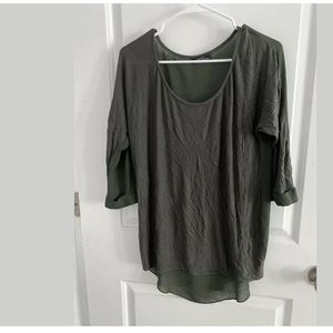 Womans Shirt High Low Army Green - Small